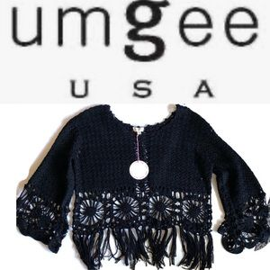 NWT Umgee crochet soft polyester cotton fringe top